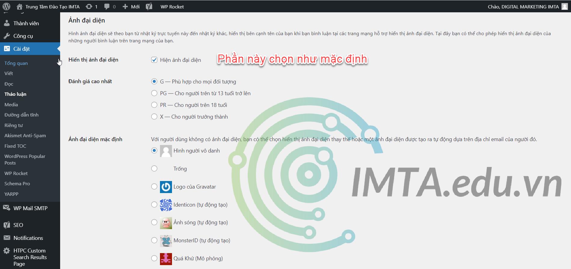Cấu hình cài đặt Avatar cho WordPress