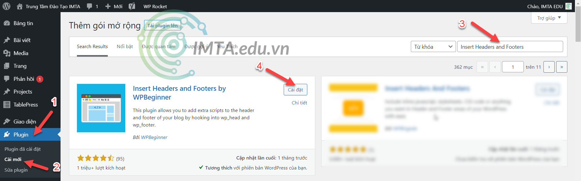Cài đặt plugin Insert Headers and Footers by WPBeginner