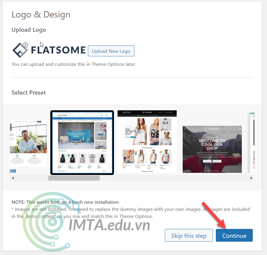 Chọn logo & trang chủ mẫu cho Flatsome