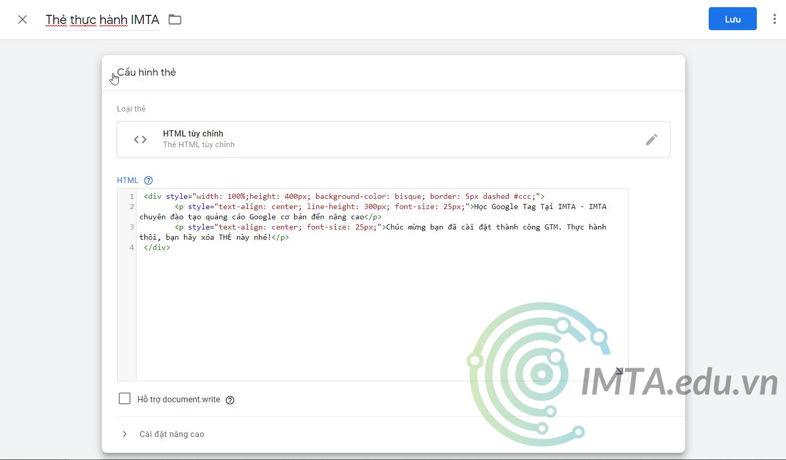 Dán code vào HTML