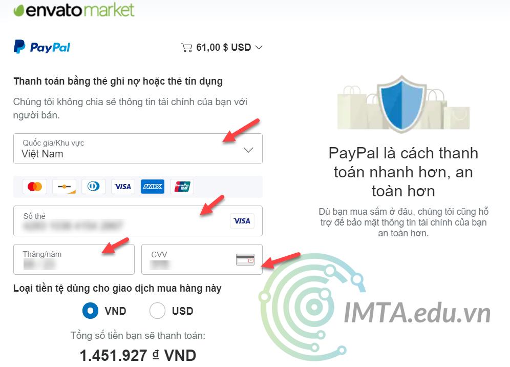 Điền thông tin thẻ thanh toán
