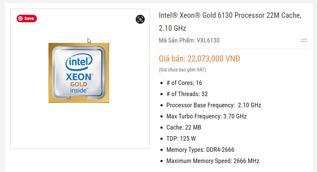 Giá Intel® Xeon® Gold 6130 Processor 22M Cache, 2.10 GHz