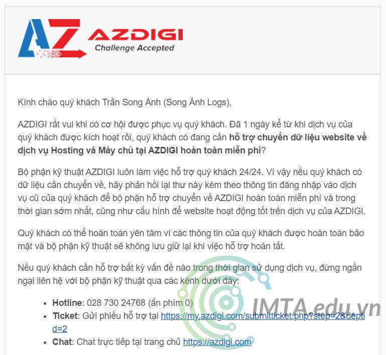 Hỗ trợ chuyển website về hosting Azdigi