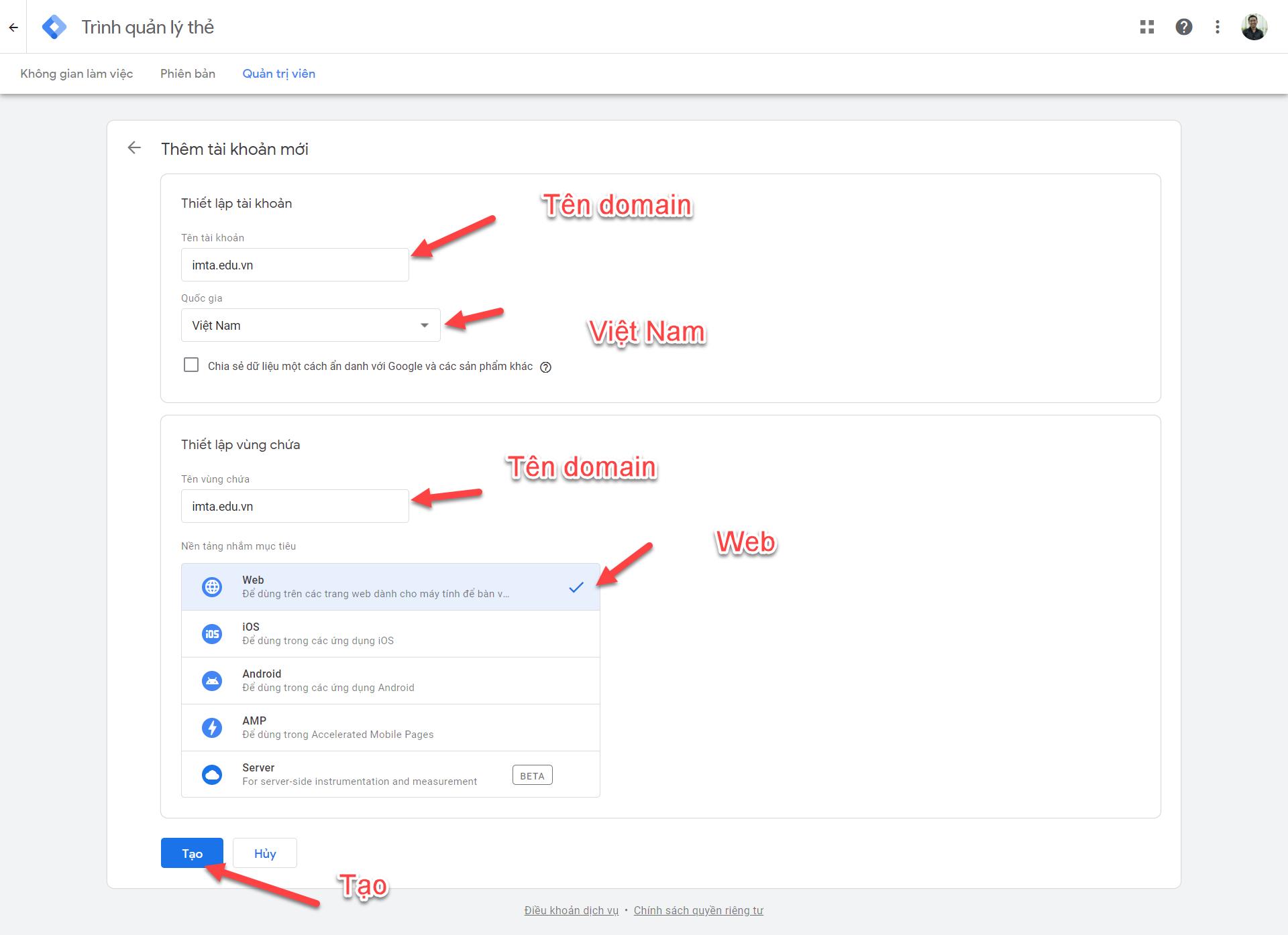 Nhập thông tin đăng ký Google Tag Manager