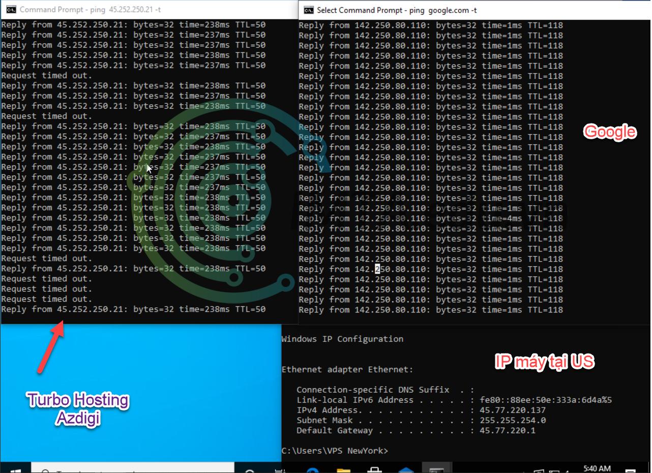 Ping hosting Turbo Azdigi với VPS Window đặt tại Mỹ