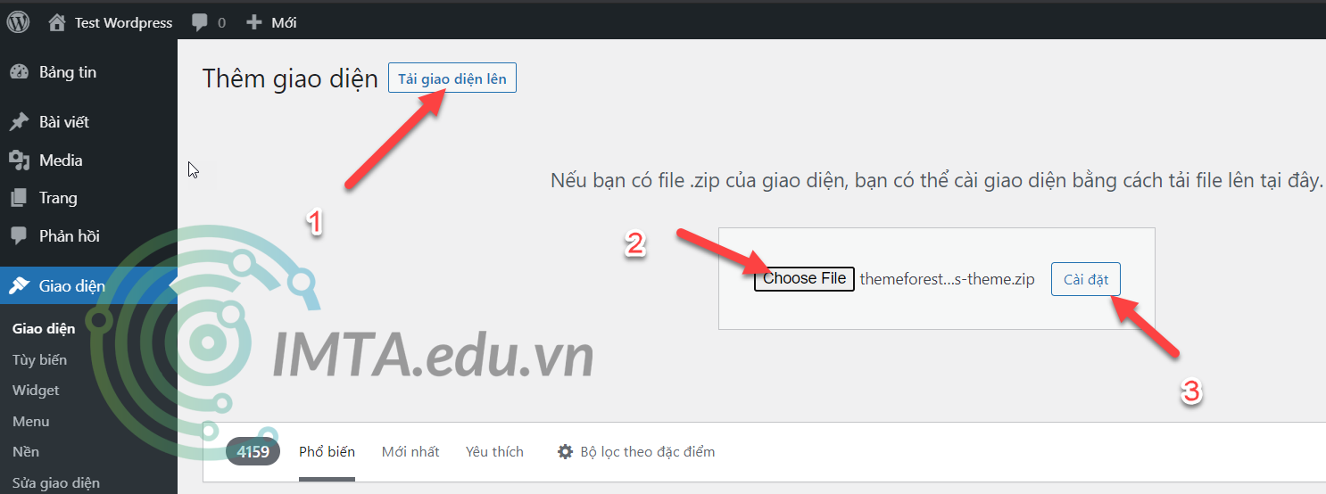 Upload file giao diện Zip của Flatsome