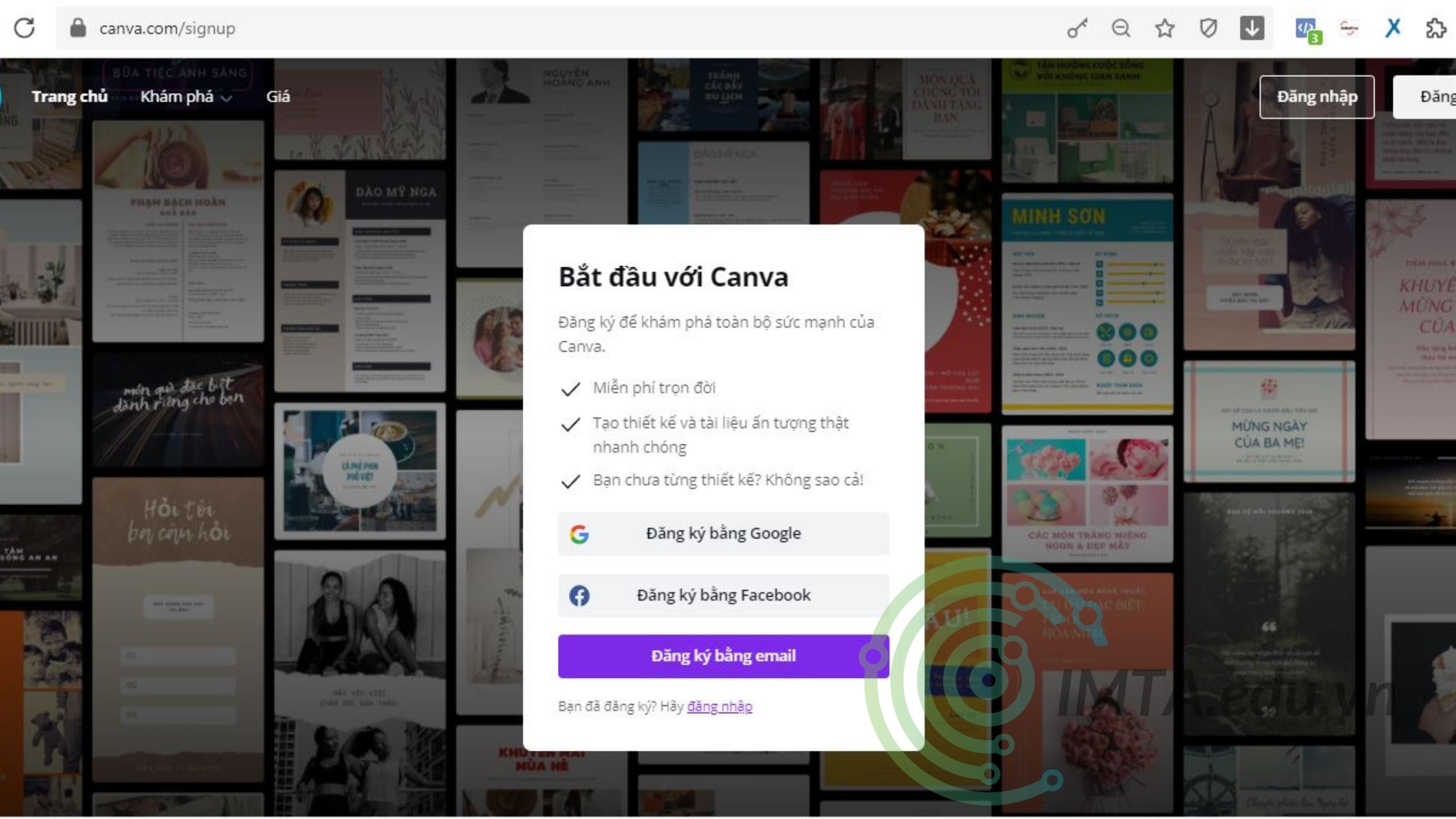 Đăng ký Canva bằng Gmail