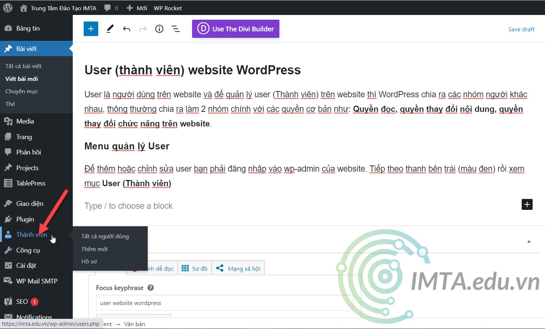 Menu User WordPress