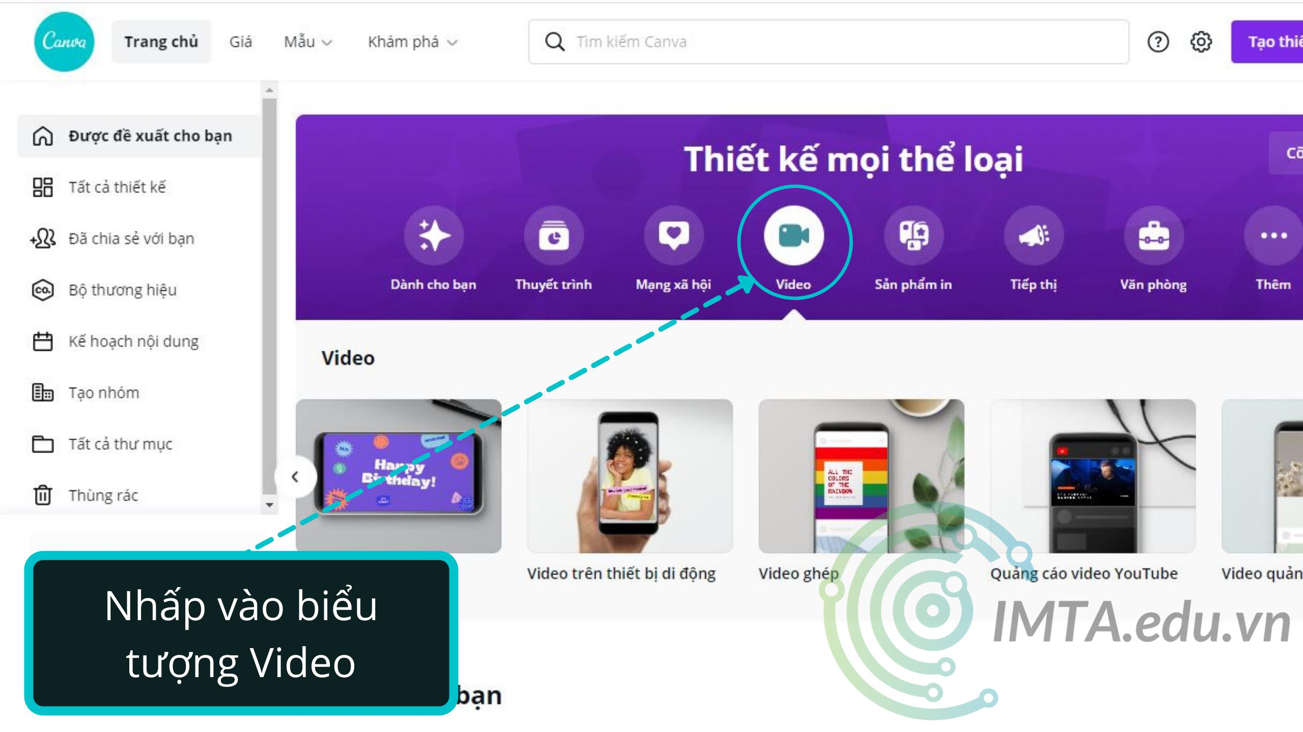 Thiết kế video Canva
